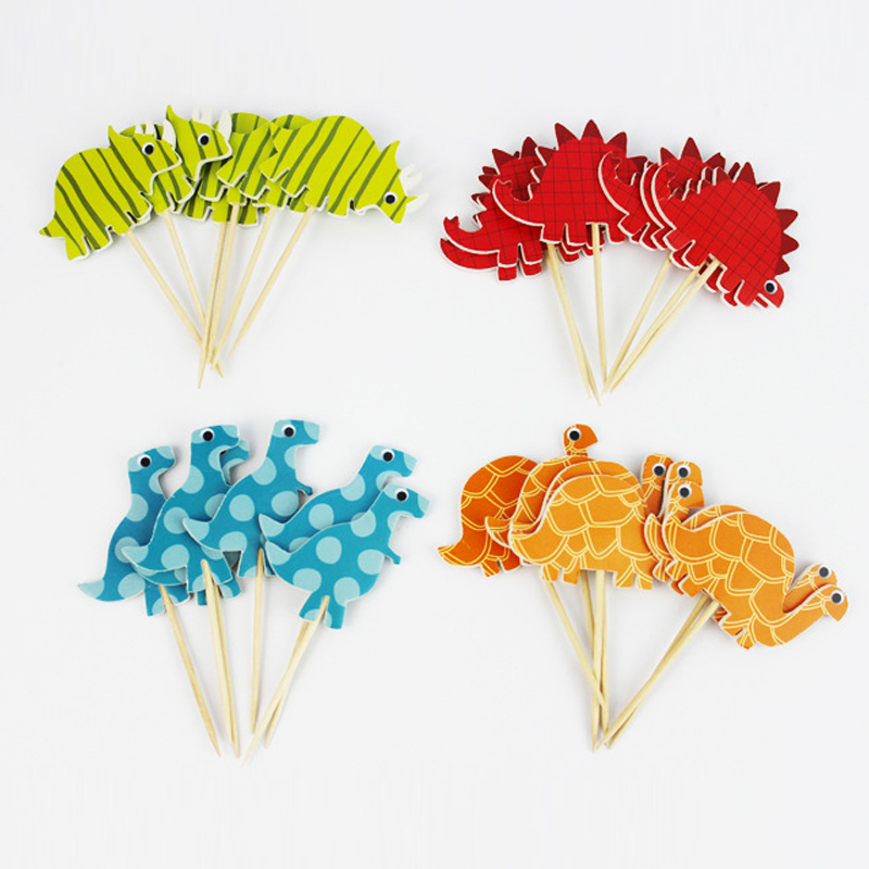 24pcs Dinosaur Cartoon Party Toys Baby Hat Accessory Gold/Silver Cupcake Toppers Princess Crown Hat Toys For Kids