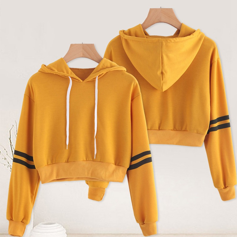 2019 Autumn Winter Hoodie Women's Wear European and American Striped Printed Short Long Sleeved Harajuku Hooded Sweatshirt