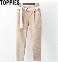 2018 Winter Women High Waist Corduroy Harem Pants with Belt Korea Fashion Harajuku Chic Style Loose Corduroy Vintage Pants