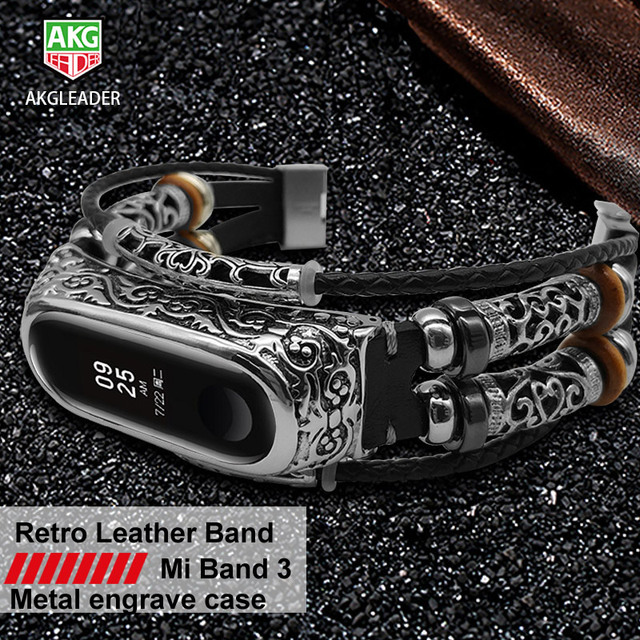 AKGLEADER For Xiaomi Mi Band 3 nfc Retro Watch Band Genuine Leather With Jewelry