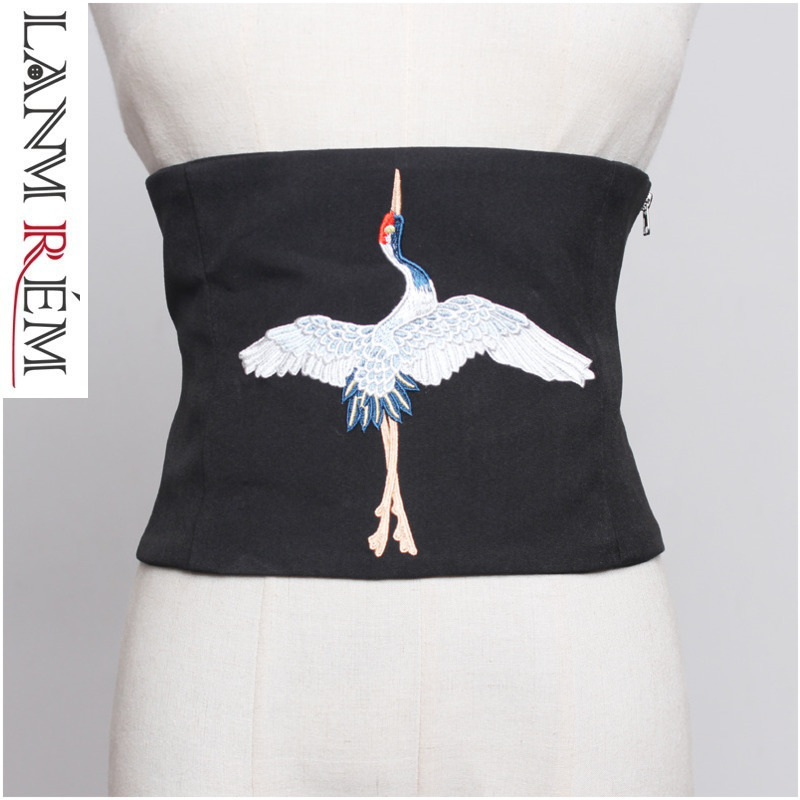 LANMREM Spring Summer Retro Fashion Chinese Style Crane Embroidered Bandage Girdle Zipper Waistband Wide Belt Accessories YH4950