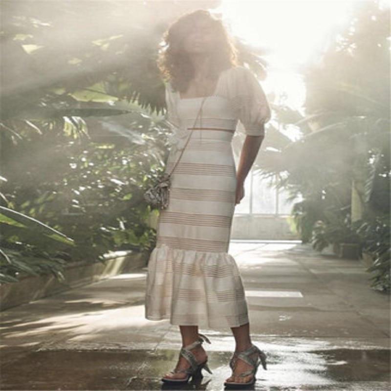 2019 Summer New Women Ivory Linen Square Neckline Linear Cropped Bodice Stripe Trim Linear Linen Midi Skirt Set
