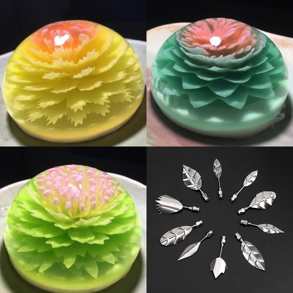 3D Jelly Flower Cake Jello Gelatin Art Tool Russia Nozzle 10 Pcs Pudding Nozzle +1 Syringe Tools Cake Decorating Tools