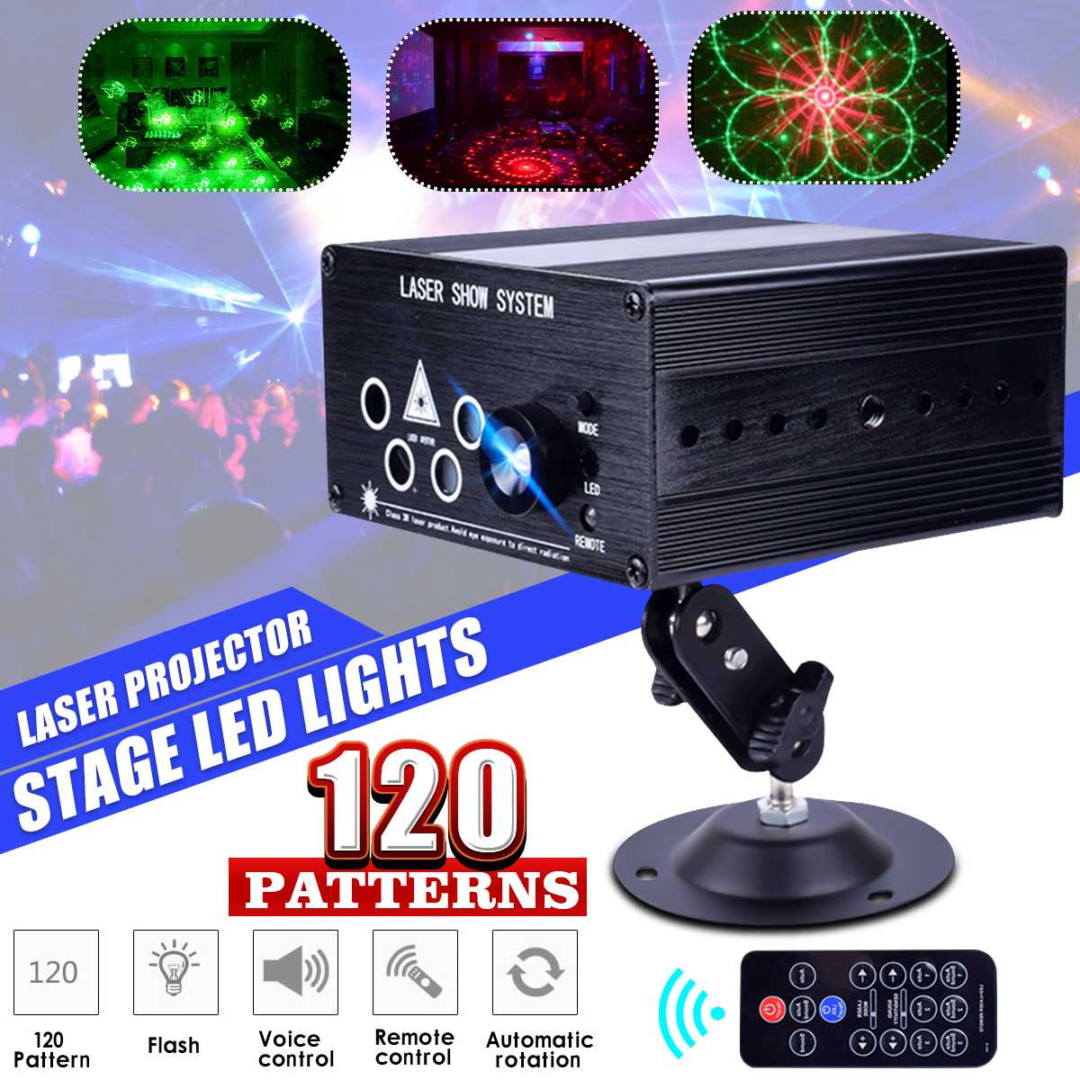 120 Patterns Laser Projector Disco Light DJ Party Stage Light RGB Lamp Outdoor Garden Decoration Remote/Sound Controll
