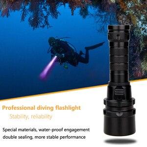 Image 2 - Professionnel UV lumière sous marine Rechargeable 18650 batterie LED XPE plongée lampe de poche 100M torche plongée sous marine 10W 365 395nm lanterne