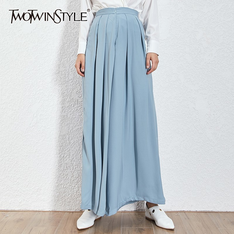 TWOTWINSTYLE Elegant Solid Trousers For Women High Waist Ruched Big Size   Wide     Leg     Pants   Female Summer Casual 2019 Fashion New