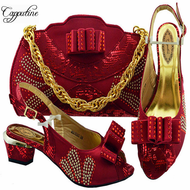 New Summer Design Rhinestone Red Color Shoes And Bag Set Italy Style Middle Heels Shoes And Bag Set For Wedding Dress M1080New Summer Design Rhinestone Red Color Shoes And Bag Set Italy Style Middle Heels Shoes And Bag Set For Wedding Dress M1080