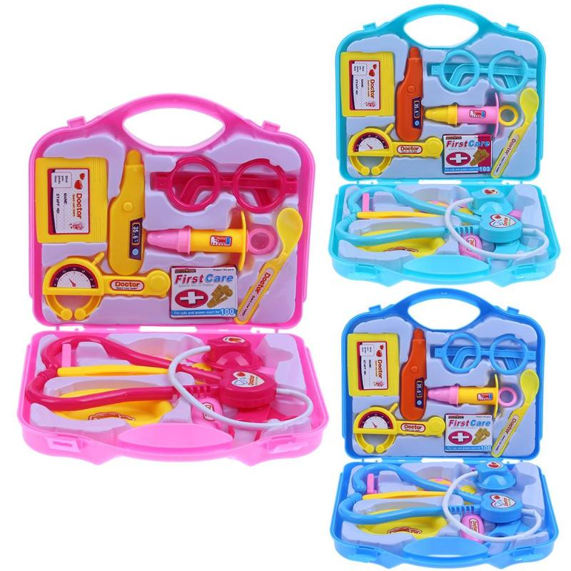 Children Pretend Play Doctor Nurse Toy Set Portable Suitcase Medical Kit Kids Educational Role Play Girls Classic Toys 15pcs/Set