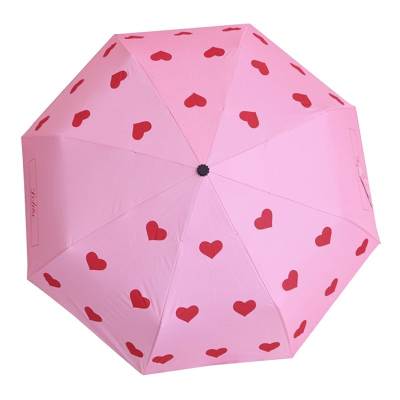Lovely Pink Colour Girl Heart Parasol Black Rubber Defence Ultraviolet Rays Cute Sunny -7116