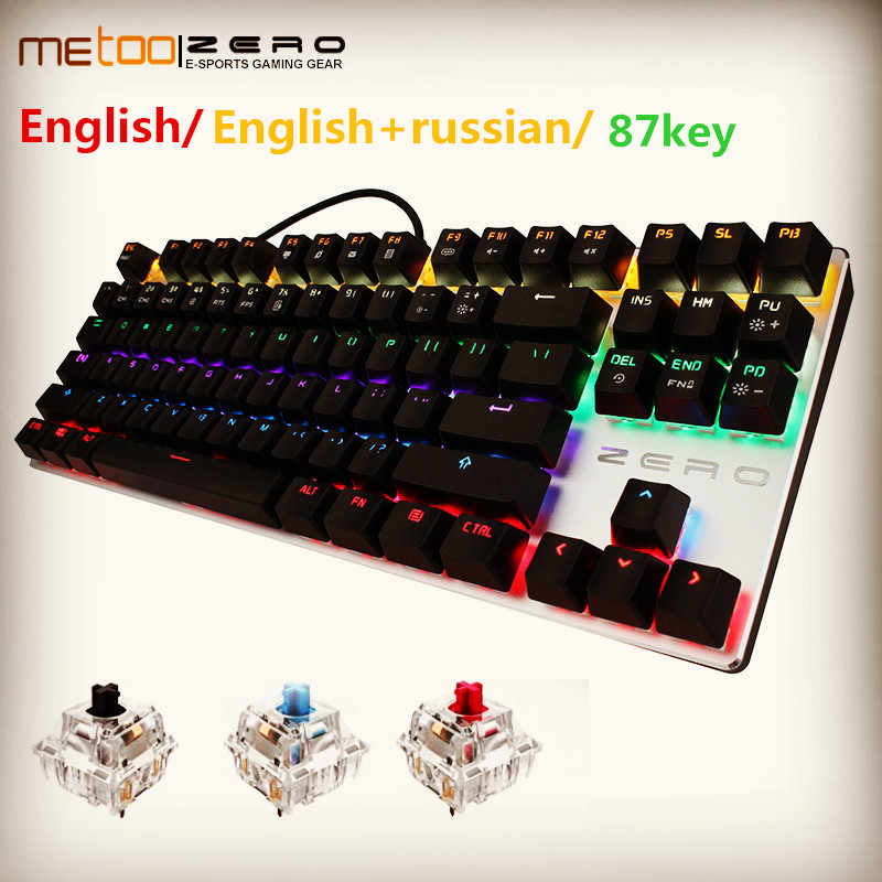 Metoo Mekanis Keyboard 87/104 Anti-Ghosting Bercahaya Biru Hitam Switch Backlit Wired Gaming Keyboard Rusia Ibrani/Spainsh