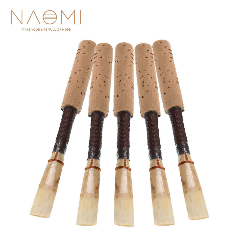 NAOMI 5PCS Bulrush Oboe Reed Soft Mouthpiece Orchestral Medium Black Color Woodwind Instrument Parts & Accessories