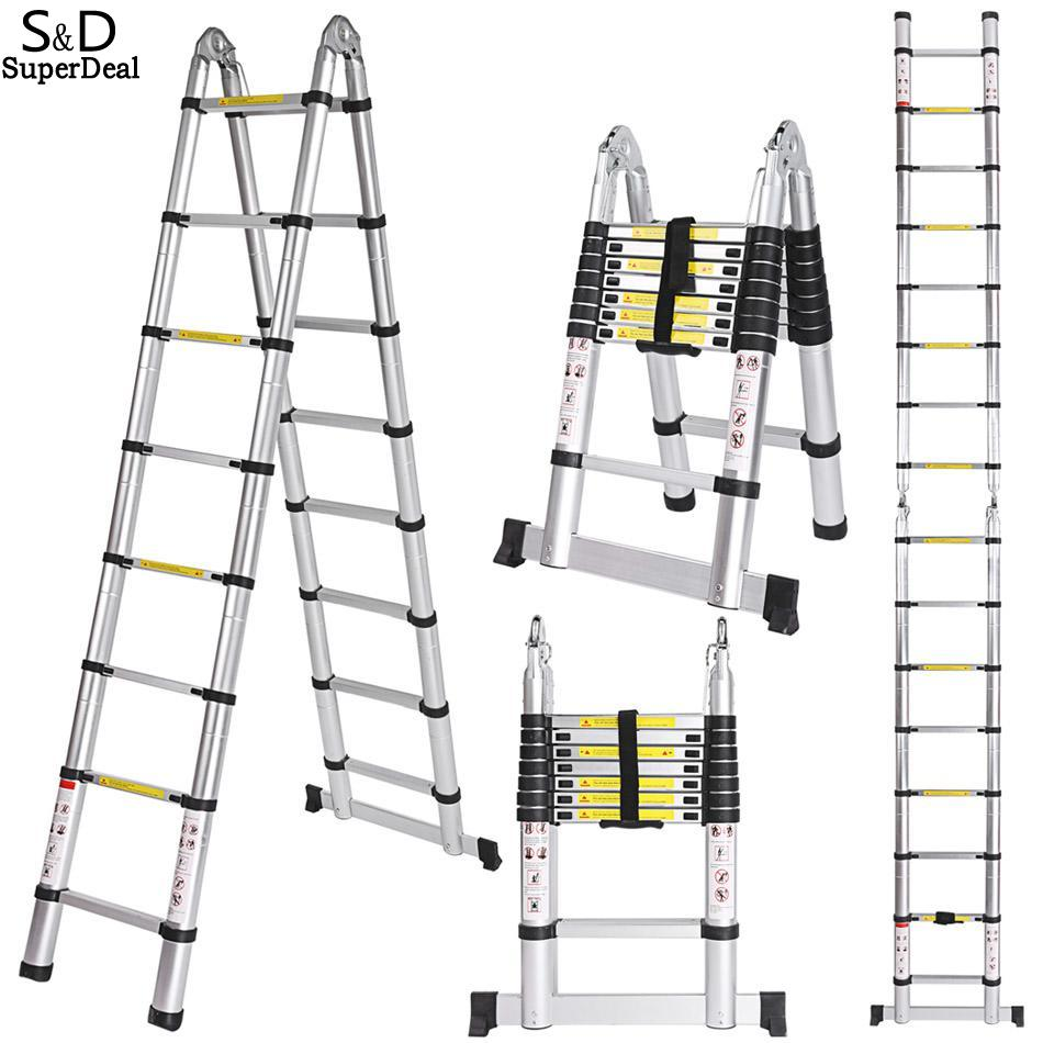Ladder Durable New Multipurpose Aluminum Telescopic Style Folding Extension Extenable Ladder