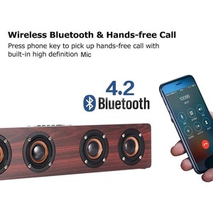 Image 2 - ワイヤレス Bluetooth スピーカー 12 ワットポータブルサブウーファ木ホームオーディオサポート TF FM 列スピーカー屋外 PC 電話