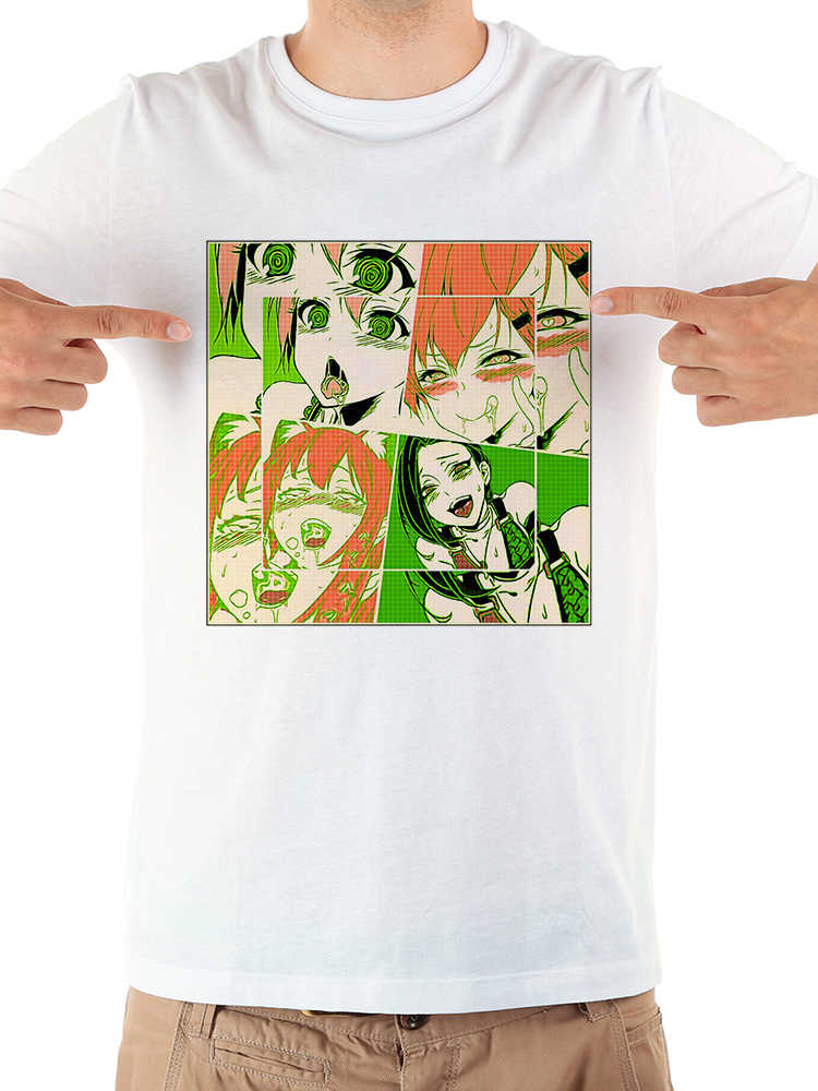 696f1715 Japan anime Ahegao PopArt Faces funny tshirt homme 2019 summer new white  casual short sleeve manga