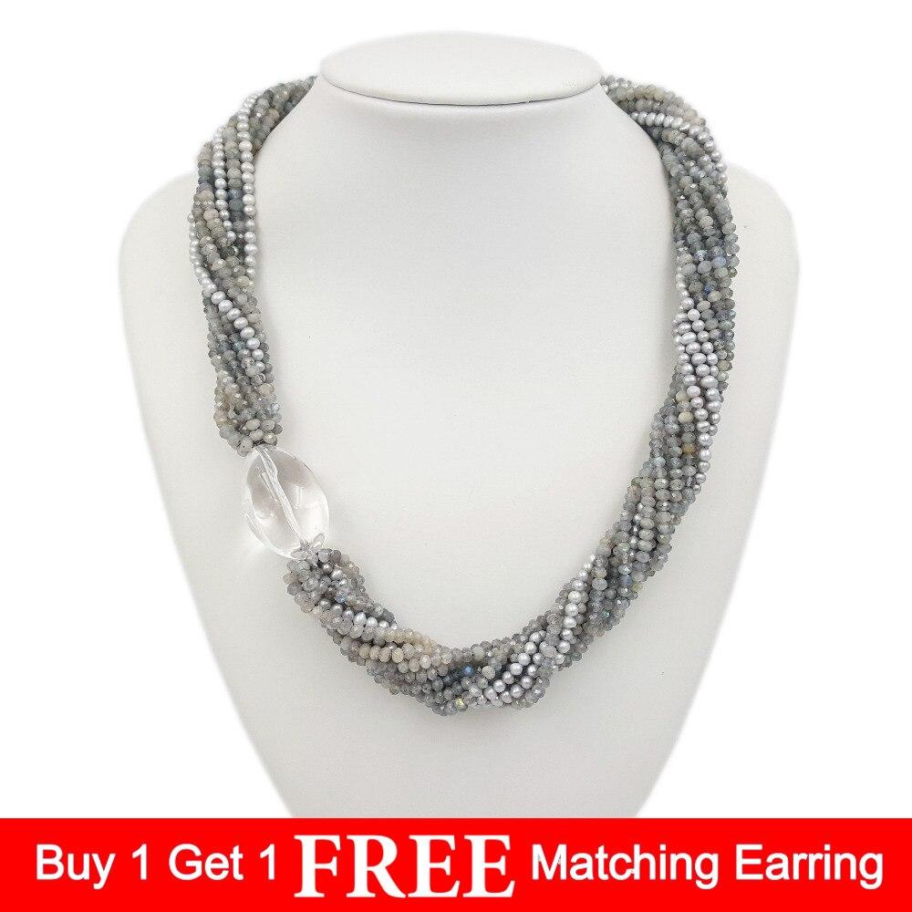 Lii Ji pierre précieuse Labradorite naturelle, perle d'eau douce, grand Quartz clair 10 rangées 925 collier fermoir en argent Sterling