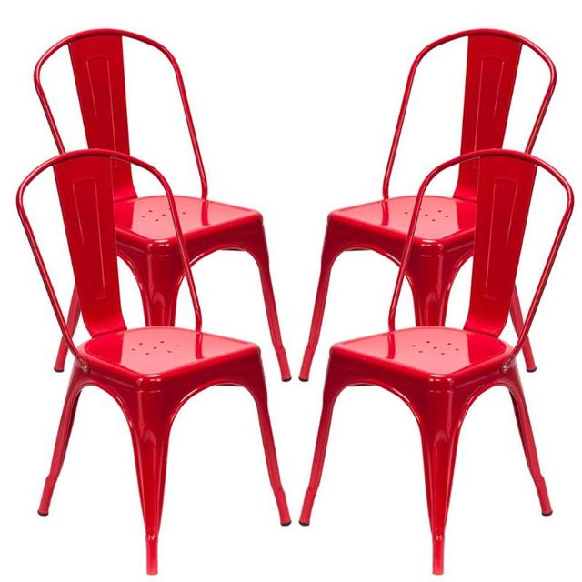 4PCS  Red Iron Backrest Chairs  3