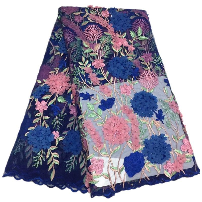 Flores y vides rosa y azul real con encaje de red FC74 de buena calidad precio al por mayor de encaje de tul africano tela-in encaje from Hogar y Mascotas    1