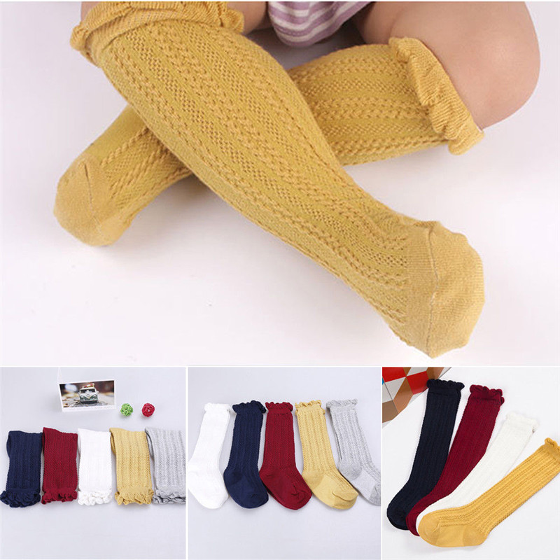 Baby Kids Toddler Girls Knee High Socks Yellow White Red Autumn Winter Socks For Age 0-3