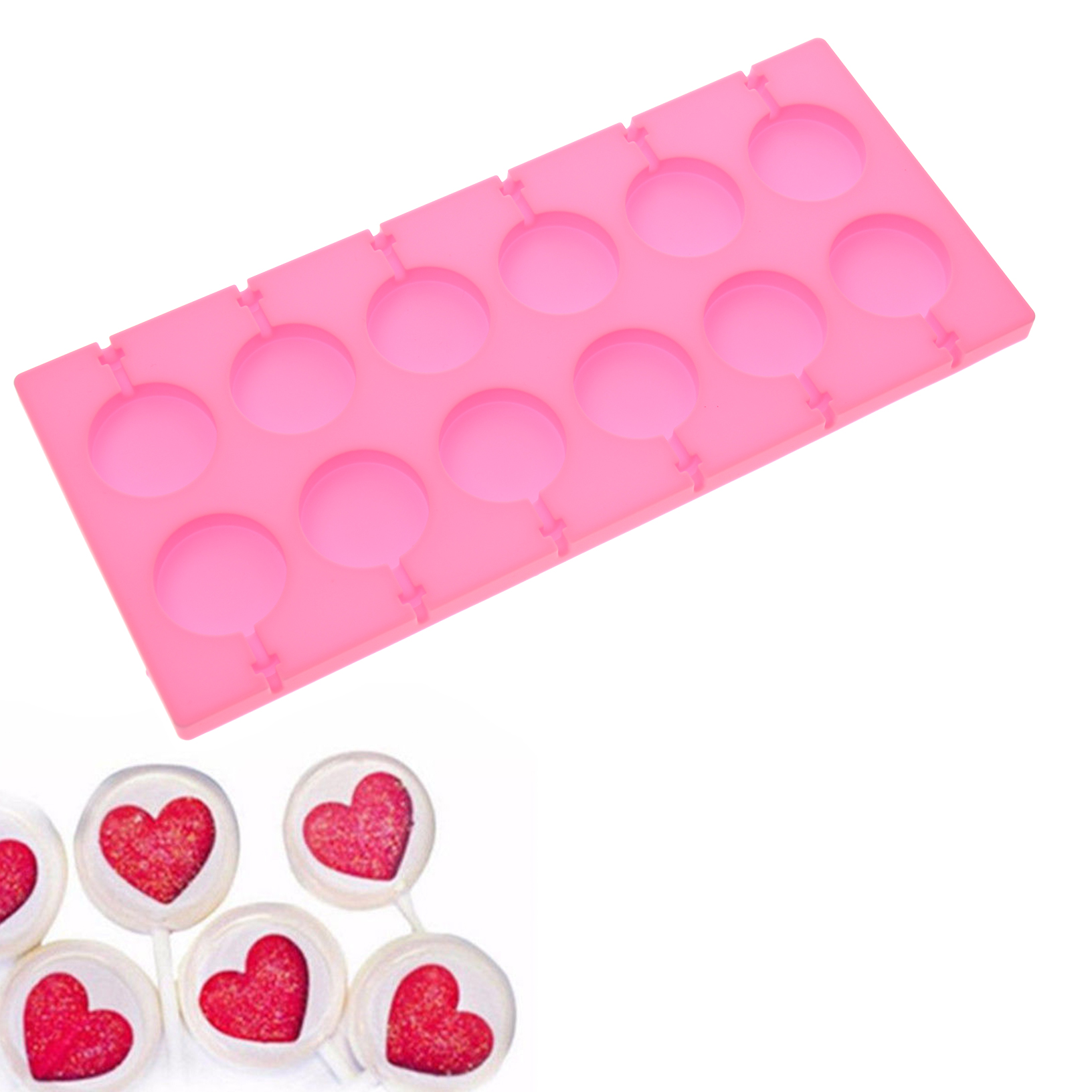 0efde938e 12 Capacity Round Shape Silicone Lollipop Mould Tray Candy Lollypop Mold