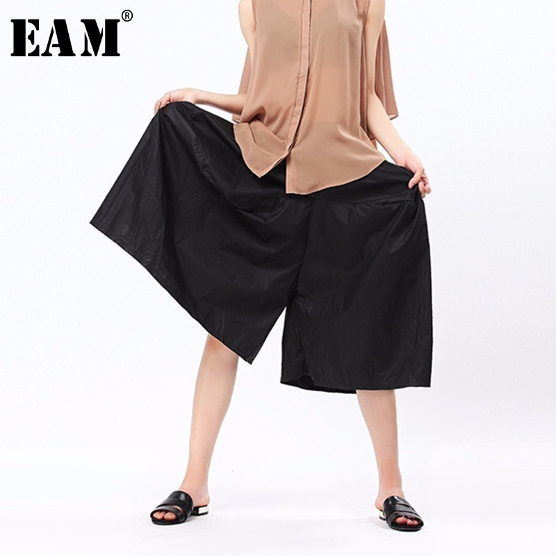 [EAM] 2019 Spring New Fashion Solid Asymmetry High Elastic Waist Pockets Casual Loose Big Size Women   Wide     Leg     Pants   RA249
