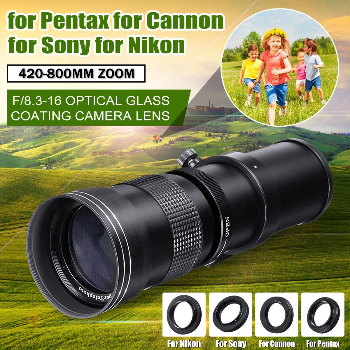 Objectif d'appareil photo 420-800mm F/8.3-16 Super téléobjectif Zoom manuel objectif pour Canon pour Nikon/Sony/Pentax DSLR SLR