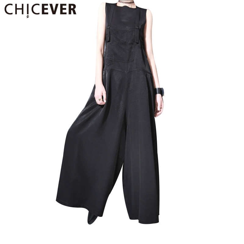 CHICEVER 2018 Summer Sleeveless Trousers For Women   Jumpsuits   Female Pant Loose Wide Leg Ankle Length Female Pants Fashion New