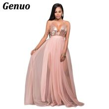 Genuo Women Sexy Maxi Evening Party Dresses Sequins Mesh Patchwork Deep V Neck Spaghetti Straps Backless Club Long Dress