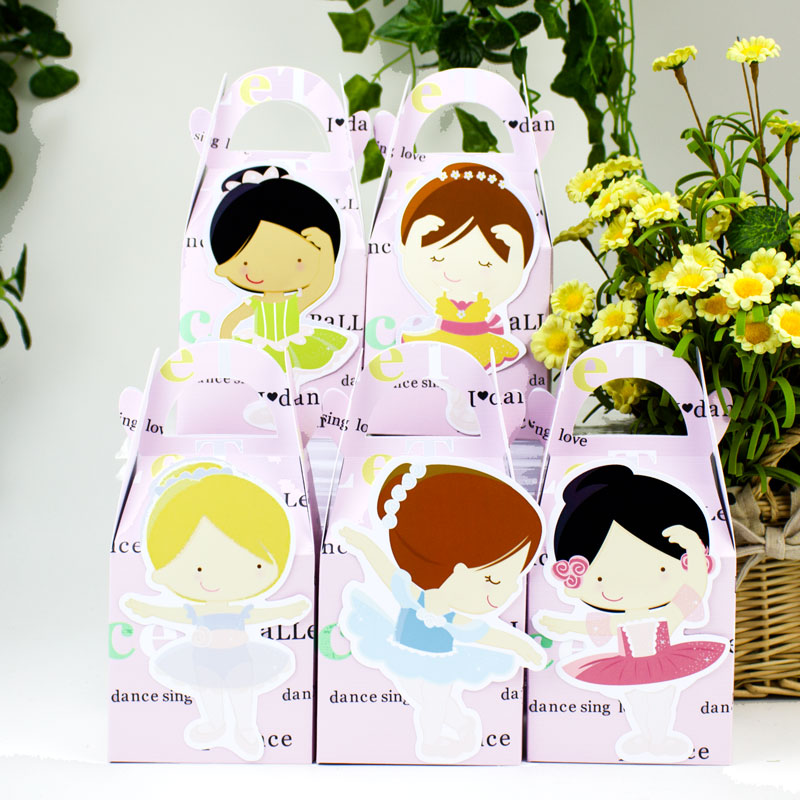 발레리나 발레 찬성 상자 사탕 상자 선물 상자 컵케익 상자 소년 아이 생일 파티 용품 장식 이벤트 파티 용품