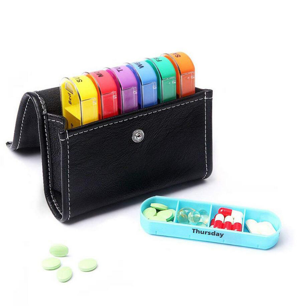 1pcs Travel Weekly Pill Purse Box Medicine Tablet Organizer Storage Dispenser 4 Times Per Day