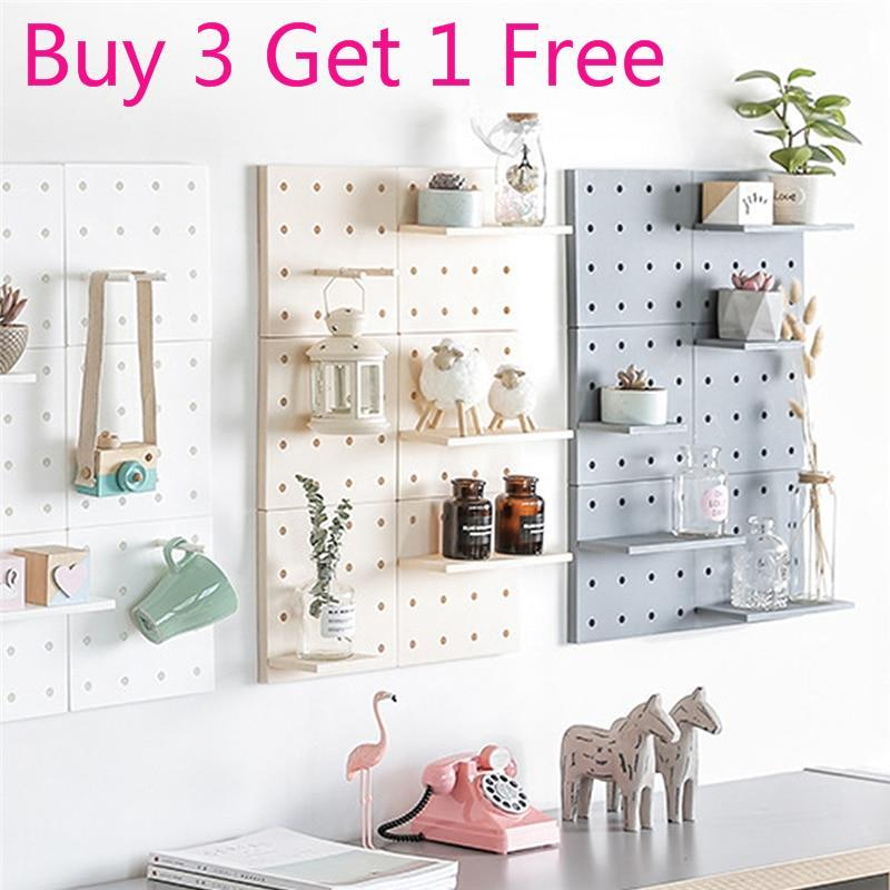 Us 9 69 50 Off Creative Home Diy Plastic Pegboard Storage Rack Hole Plate Wall Mount Shelf Living Room Kitchen Suction Organizers Holders In