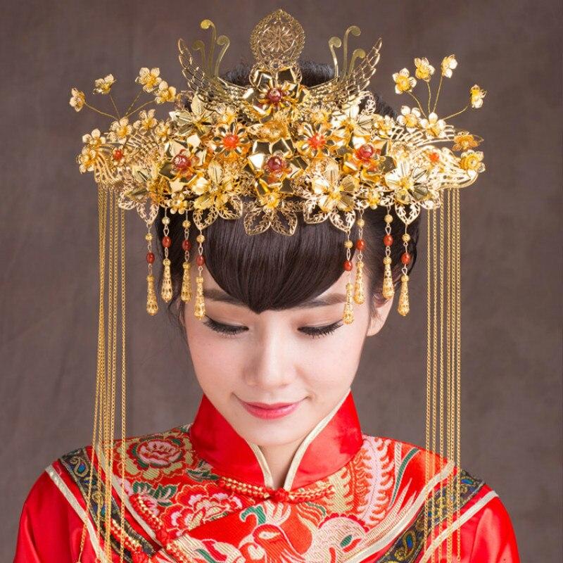 AINILIDAN Chinois Style De Bijoux De Mariage Cheveux Accessoires Classique Chapeaux De Mariée D'or Phoenix Couronne À La Main Mariée Diadème