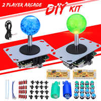 2 Players DIY Arcade Set Kits Zero Delay Keyboard +16 LED Push Buttons Replacement Parts Game USB Controller Joystick