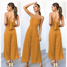 2019 Summer Women Wide Leg Jumpsuit Casual Polka Dot High Waist Jumpsuit Sexy Spaghetti Strap Backless Long Jumpsuit