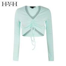HYH HAOYIHUI Streetwear Party Elegant Sexy Workwear V-neck Tie With Long Sleeve Short Shirt