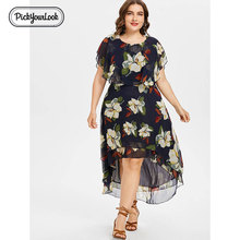 Pickyourlook Women Midi Dress Plus Size Summer Bohemian Vestido De Festa Short Sleeve Floral Translucent Women Large Size Dress plus size floral flowy bohemian dress
