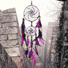 New original hand-woven two-ring purple feather dream catcher pendant large home