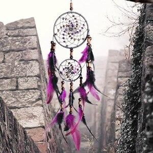 New original hand-woven two-ring purple feather dream catcher pendant large dream catcher home pendant