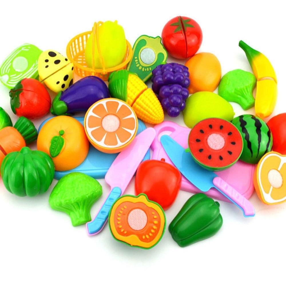 DIY Pretend Play Baby Kitchen Plastic Food Toy Set Cooking Cutting Fruit Children Kid Educational Toys For children Girls in Kitchen Toys from Toys Hobbies