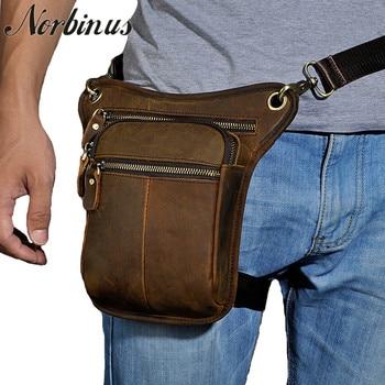 Norbinus Genuine Leather Men Waist Bag Motorcycle Drop Leg Belt Bag Thigh Hip Bum Pouch Travel Messenger Shoulder Crossbody Bags leather