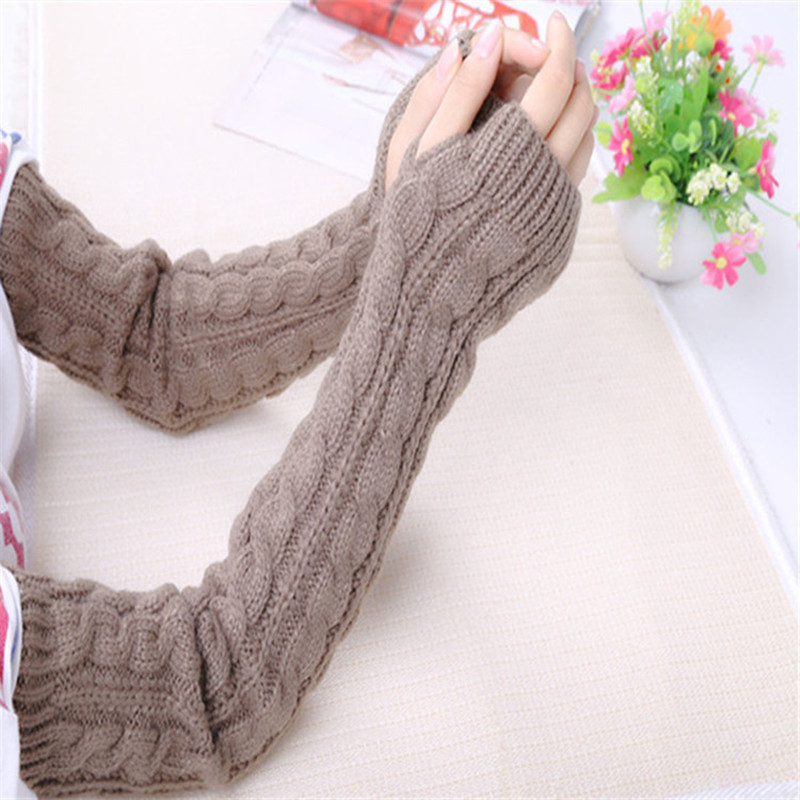 Women Winter Arm Warmers Fingerless Long Gloves Solid Warm Mittens Elbow Knitted Sleeves Cycling Glove Elastic About 50 Cm