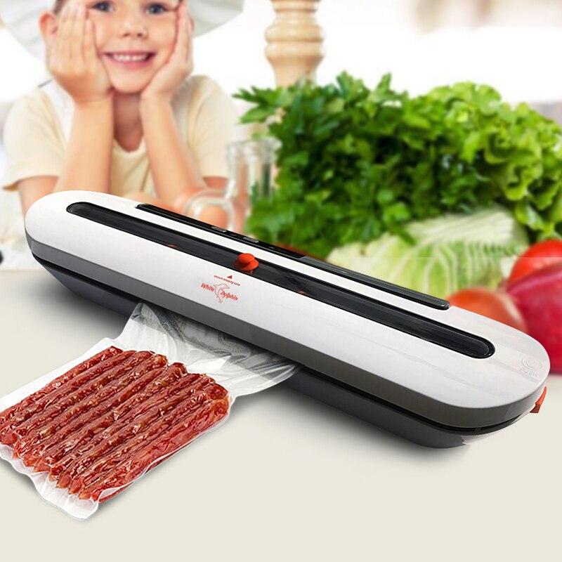 Eléctrico sellador de vacío máquina de embalaje para casa cocina, incluyendo 10 piezas comida Saver bolsas comerciales de alimentos al vacío sellado