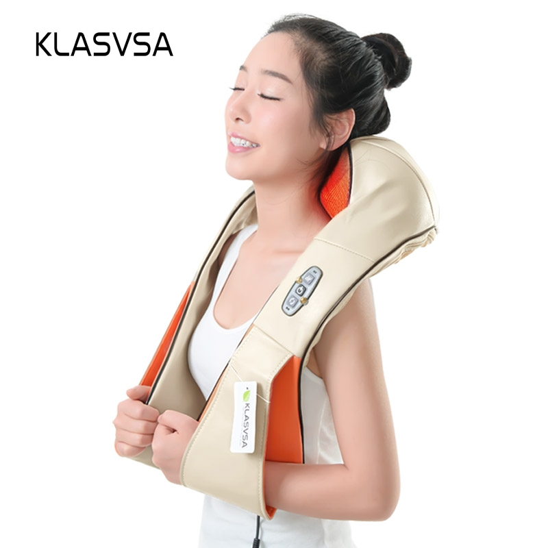 KLASVSA 12 Massage Heads Heating Neck Shoulder Kneading Massager Cervical Therapy Health Care Back Waist Pain Relief Relaxation