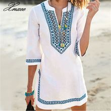 Embroidery Vintage Beach Cover up Swimsuit Women Bikini cover Tunics for Pareo Sarong Beachwear
