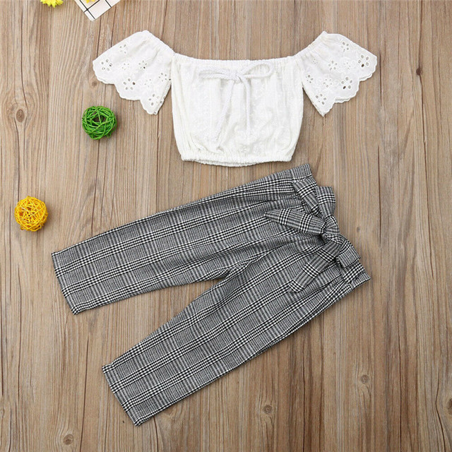 2019 baby girl clothes set lace crop top vest+bow lace up plaid pants set baby clothes girl summer clothing 2pcs 4