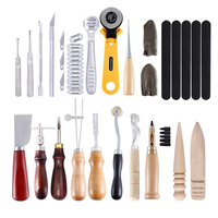 24pcs Leather Craft Tools Kit Hand Sewing Stitching Punch Carving Work Gift For Clothes Designer Or Housewife DIY Sewing Tools