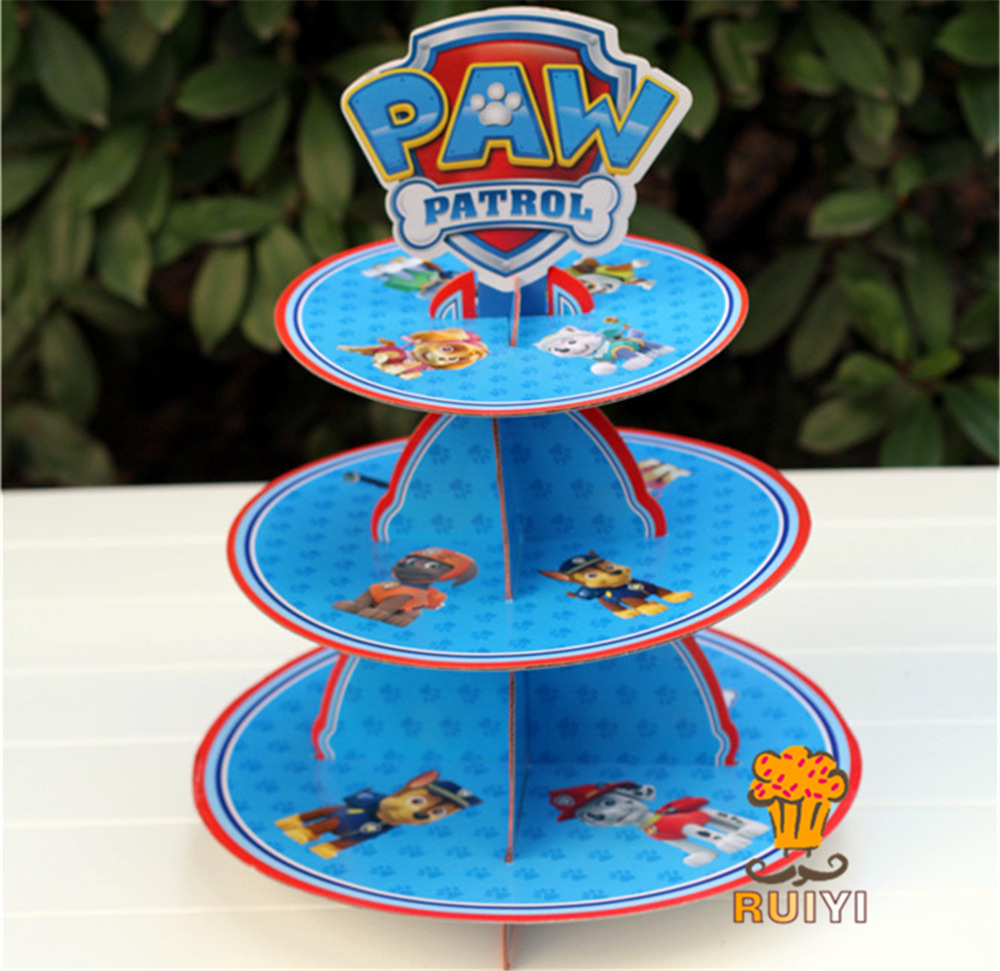 2019 Paw Patrol Party Birthday Cake Stand Rack Three-layer Cake Stand Dessert Tray Cartoon Party Supplies Set Gifts for Children2019 Paw Patrol Party Birthday Cake Stand Rack Three-layer Cake Stand Dessert Tray Cartoon Party Supplies Set Gifts for Children