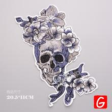 GUGUTREE embroidery big skull patches flower badges applique for clothing DX-31