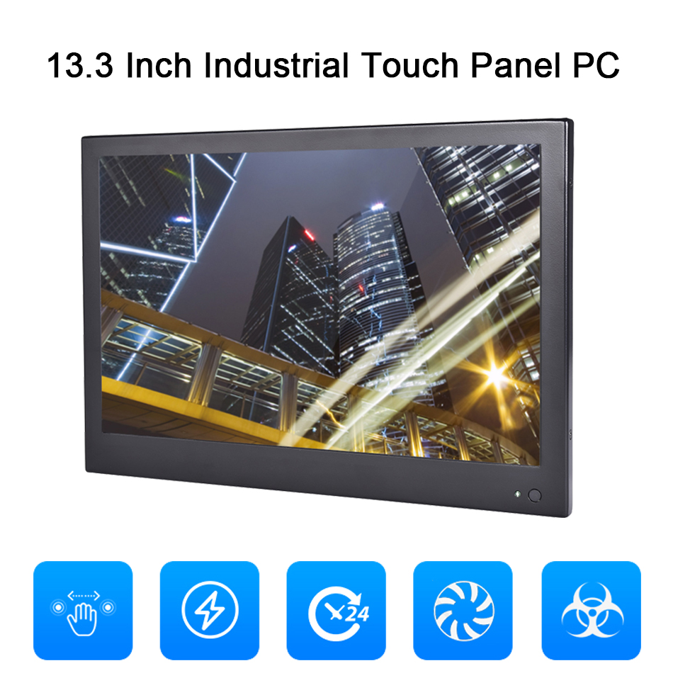 13.3 Inch Industrial Touch Panel PC,4 Wire Resistive Touch Screen,Windows 7/10,Linux,Intel J1800,[HUNSN DA11W]