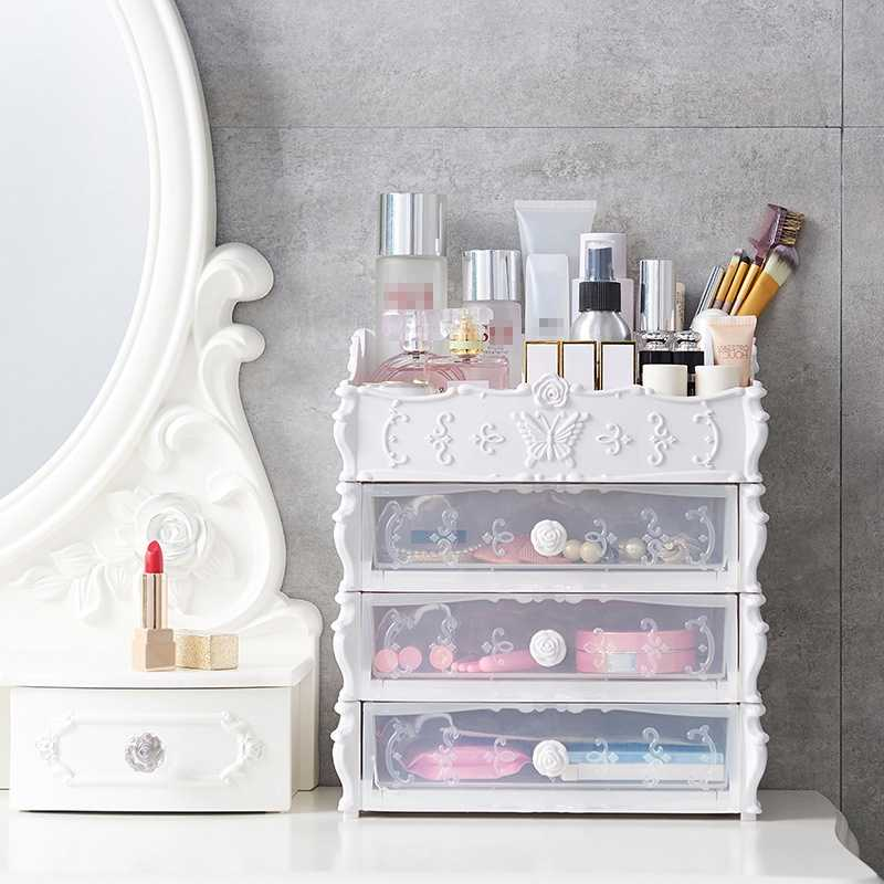 Plastikowa szuflada kosmetyczna pojemnik organizer kosmetyczny do przechowywania makijaż biżuteria uchwyt do paznokci na blat przechowywanie rozmaitości Cas