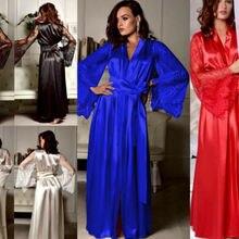 New Lingerie Sleepwear Satin Lace Sexy Women Sissy Long Sleeve Loose Bathrobe Kimono Babydoll Nightw